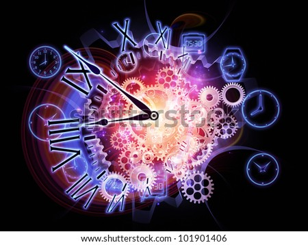 Backdrop composed of gears, clock elements and abstract design elements and suitable for use on scheduling, temporal and time related processes, deadlines, progress, past, present and future