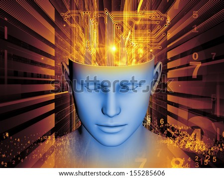 Backdrop composed of human head and symbolic elements and suitable for use in the projects on human mind, consciousness, imagination, science and creativity