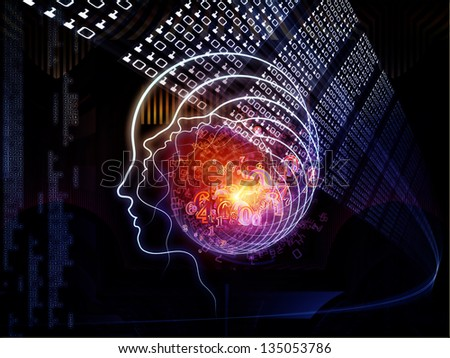 Backdrop composed of outline of human head and symbolic elements and suitable for use in the projects on knowledge, science, technology and education