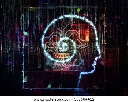 Backdrop composed of outlines of human head, technological and fractal elements and suitable for use in the projects on artificial intelligence, computer science and future technologies - stock photo