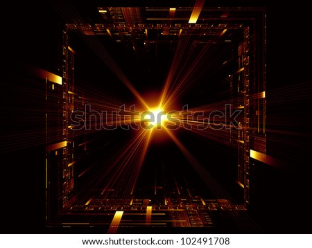 Backdrop composed of perspective fractal grids, lights, mathematical line patterns and suitable for use on modern technologies, science of energy, signal processing, music and entertainment