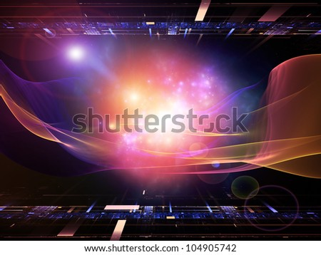 Backdrop composed of perspective fractal grids, lights, mathematical wave and sine patterns and suitable for use on modern technologies, science of energy, signal processing, music and entertainment