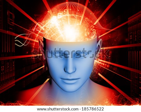 Backdrop design of human head and symbolic elements to provide supporting composition for works on human mind, consciousness, imagination, science and creativity