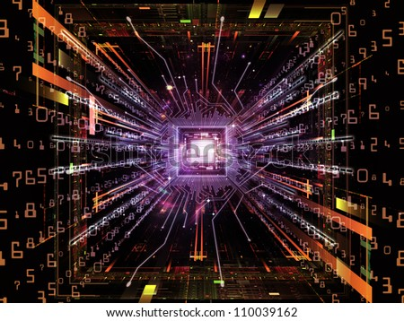 Backdrop of  computer chip, numeric and abstract elements to complement your design on the subject of computers,  math and information technology - stock photo