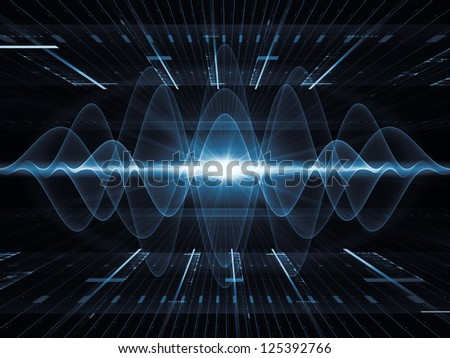 Backdrop on the subject of modern technologies, science of energy, signal processing, music and entertainment composed of perspective fractal grids, lights, mathematical wave and sine patterns - stock photo