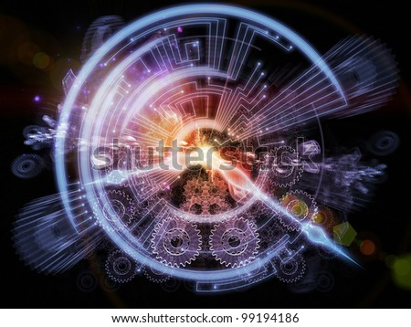 Backdrop on the subject of time sensitive issues, deadlines, scheduling, temporal processes, past, present and future composed of clock hands, gears, lights and abstract design elements - stock photo