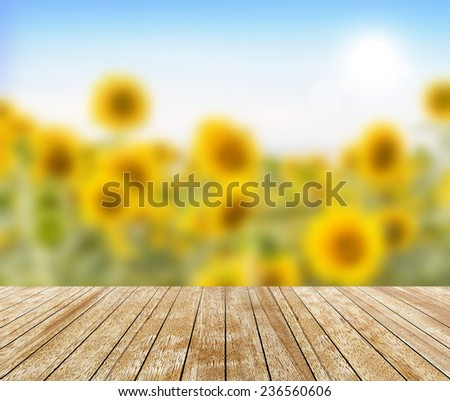 Backdrop Sunflower in a field (blurred) and wood slabs arranged in perspective texture background. - stock photo