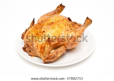 backed/roast chicken isolated on white - stock photo