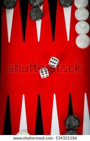 Backgammon Red Board with Dice - stock photo