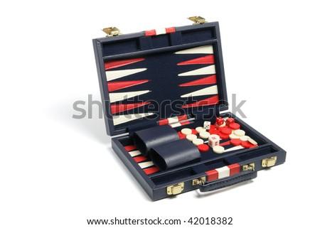 Backgammon Set on Isolated White Background - stock photo