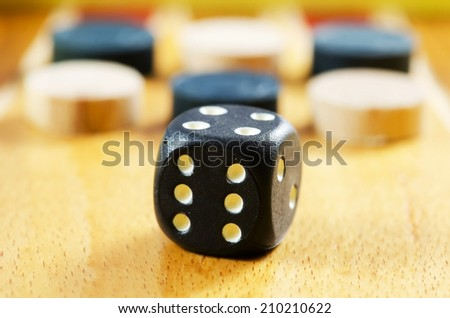 Backgamon table with pieces and dice. - stock photo