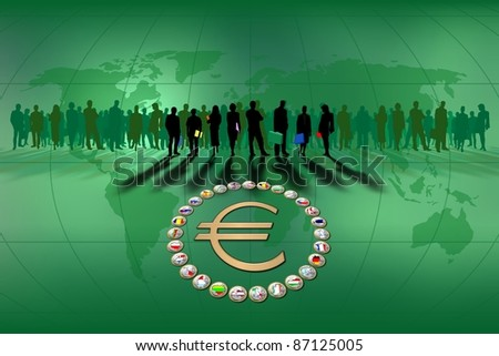 Background about European Union with flags - stock photo