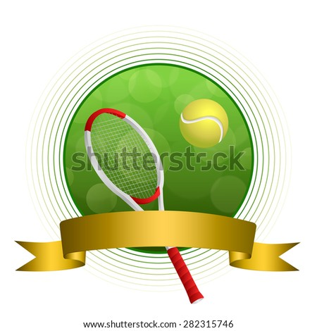 Background abstract green tennis sport ball illustration gold tape circle frame