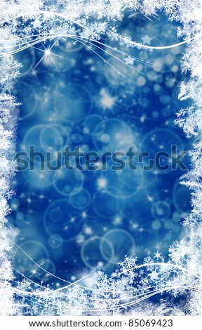 Background and bright flashes and snowflakes particles - stock photo