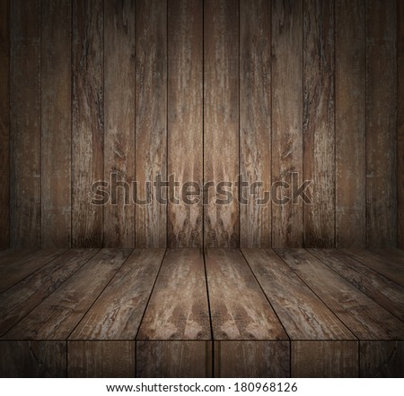 background and texture concept - wooden floor and wall - stock photo