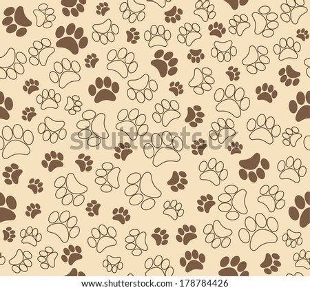 background animal footprints seamless wallpaper - stock photo
