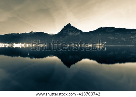 Background as epic mountain landscape.  Bleach bypass effekt. - stock photo