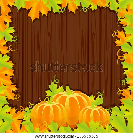 Background autumn harvest of pumpkins and leaves