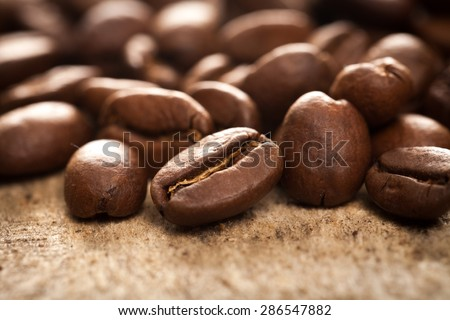 Background, bag, beans. - stock photo