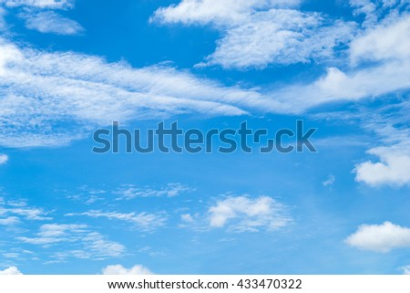 Background, blue sky background with tiny clouds - stock photo
