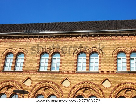 background blue sky with building