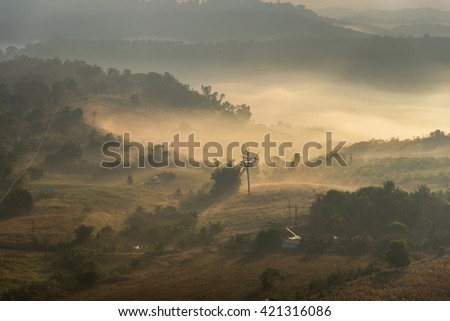 Background Blur Morning sunrise at viewpoint Khao Kho national park, Petchaboon, Thailand
