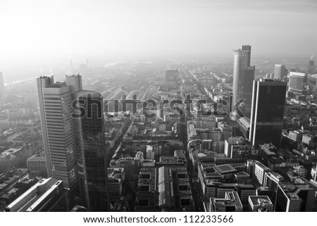 Background City of Frankfurt - Black and White Photo - stock photo