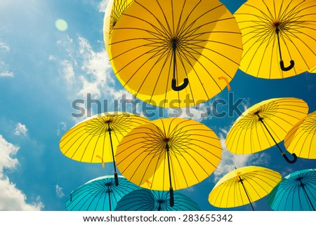 Background colorful umbrella street decoration - stock photo