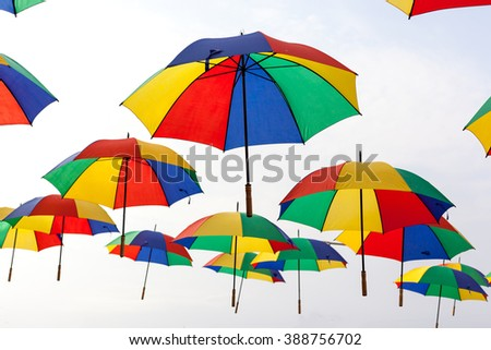 Background colorful umbrella street decoration. - stock photo