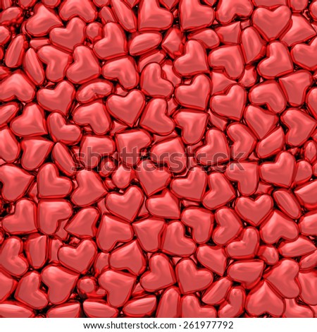 Background composed of many small red hearts. High resolution 3D image - stock photo