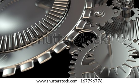 Background composition with metal gears mechanism - stock photo