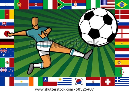 Background composition with soccer player shooting a ball surrounded by countries flags which play the South Africa World Cup. - stock photo