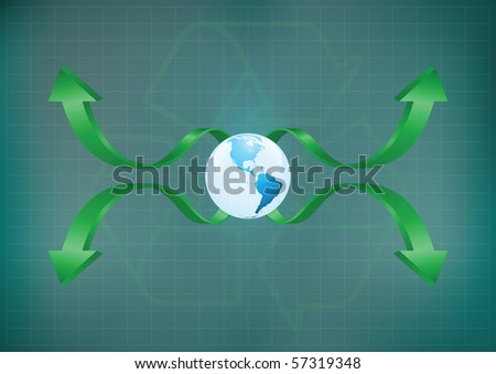 Background concept of planet earth with a recycling theme with copy space for own text - stock photo