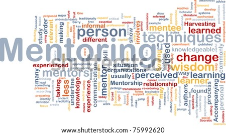 Background concept word cloud illustration of mentoring - stock photo
