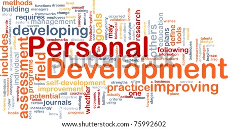 Background concept word cloud illustration of personal development - stock photo