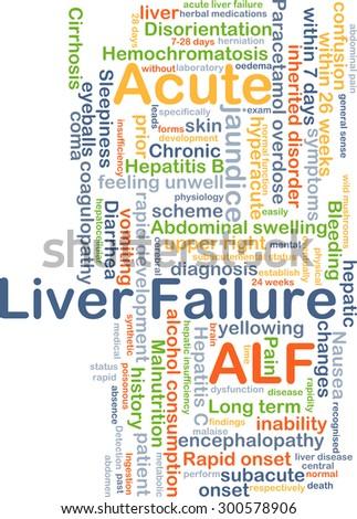 Background concept wordcloud illustration of acute liver failure ALF - stock photo
