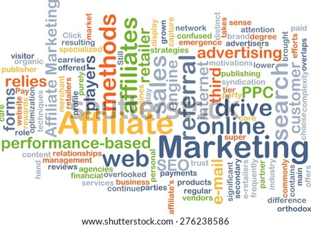 Background concept wordcloud illustration of affiliate marketing - stock photo