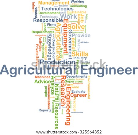 Background concept wordcloud illustration of agricultural engineer - stock photo