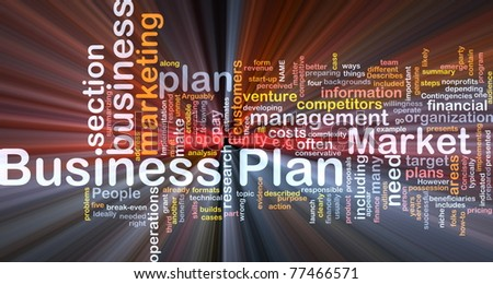 Background concept wordcloud illustration of business plan glowing light - stock photo