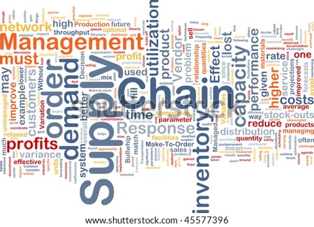 Background concept wordcloud illustration of business supply chain - stock photo