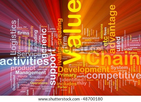 Background concept wordcloud illustration of business value chain glowing light - stock photo