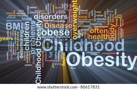 Background concept wordcloud illustration of childhood obesity glowing light - stock photo