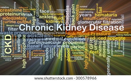 Background concept wordcloud illustration of chronic kidney disease CKD glowing light
