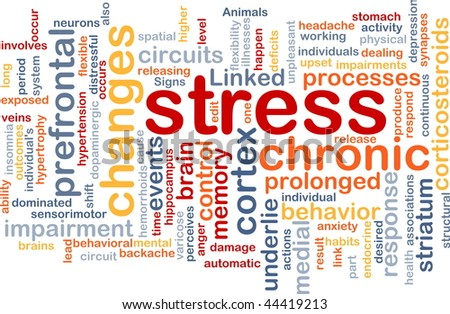 Background concept wordcloud illustration of chronic mental stress - stock photo