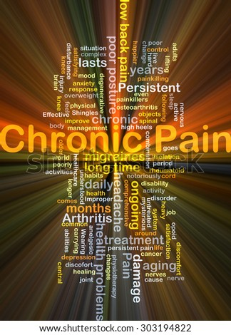 Background concept wordcloud illustration of chronic pain glowing light - stock photo