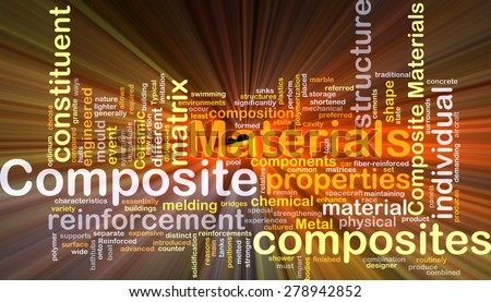 Background concept wordcloud illustration of composite materials glowing light