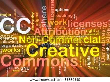 Background concept wordcloud illustration of creative commons license glowing light