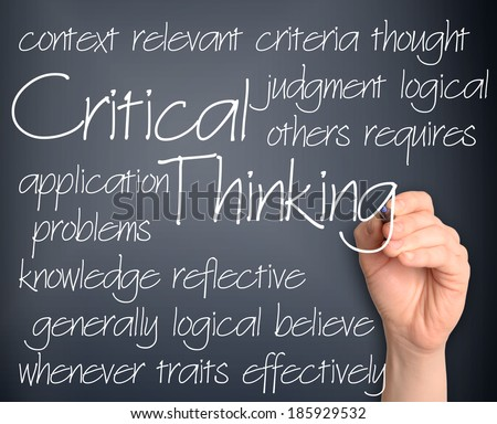 Background concept wordcloud illustration of critical thinking handwritten on dark background - stock photo