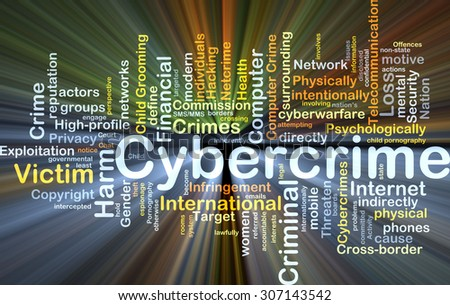 Background concept wordcloud illustration of cybercrime glowing light - stock photo