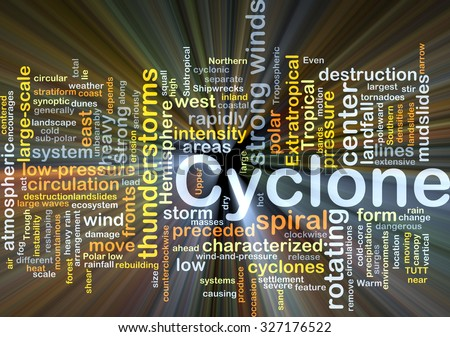 Background concept wordcloud illustration of cyclone glowing light - stock photo